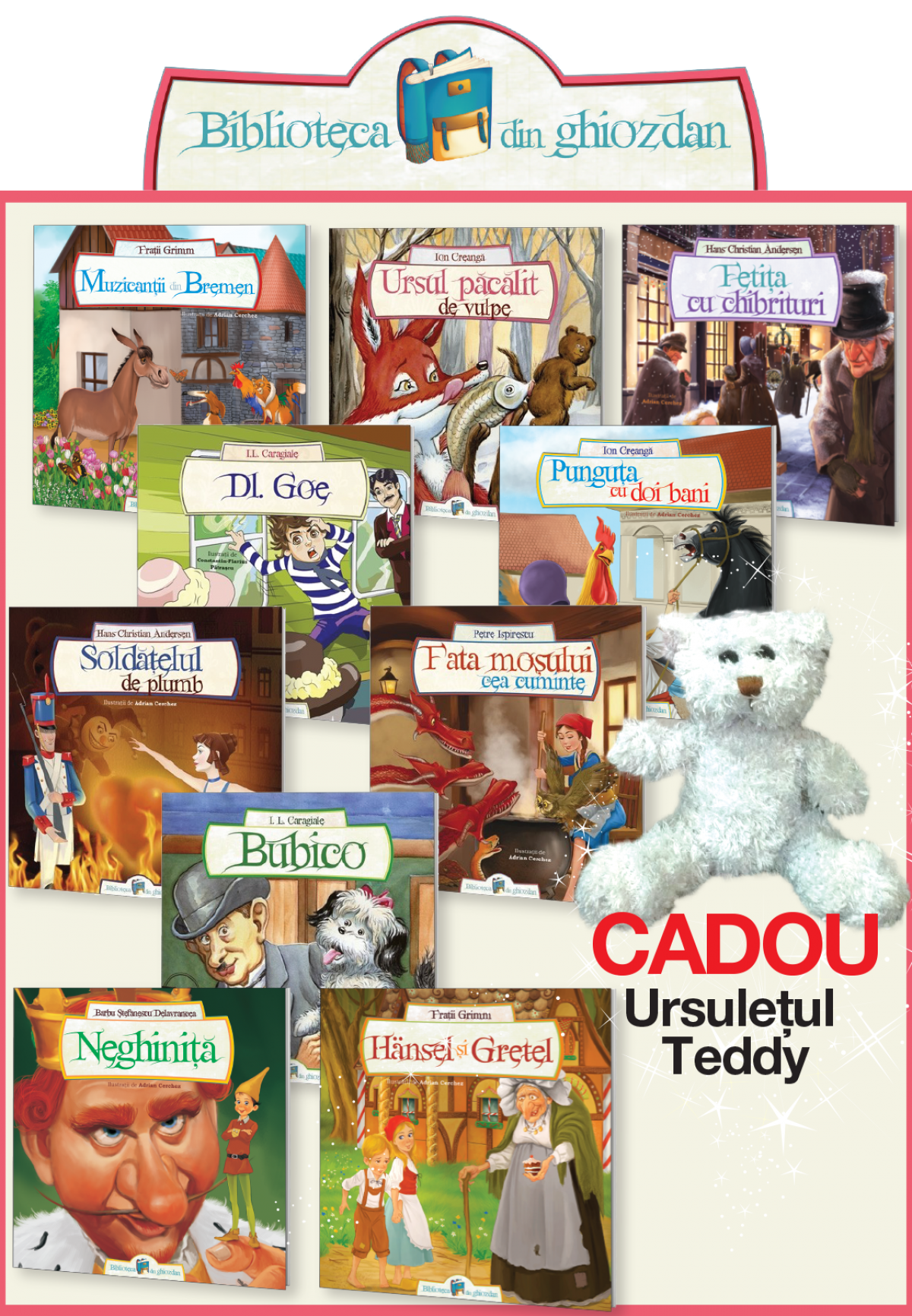 "Pachet ""Biblioteca din ghiozdan"" + cadou Ursulețul Teddy"